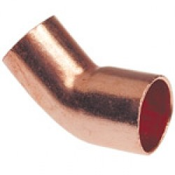 6mm Metric Copper 45 Degree Street Elbow ( Fitting x Tubing/Pipe OD)