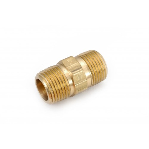 3/8 MIP X 3/8  MIP Brass Threaded Pipe Hex Nipple