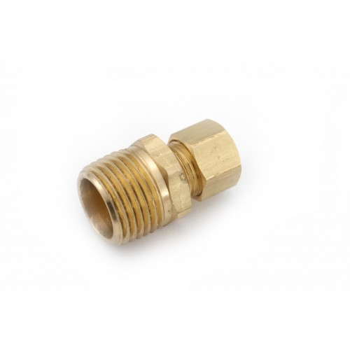 1/4 OD X 3/8 MPT   Brass Compression X Male Pipe Thread Straight Connector