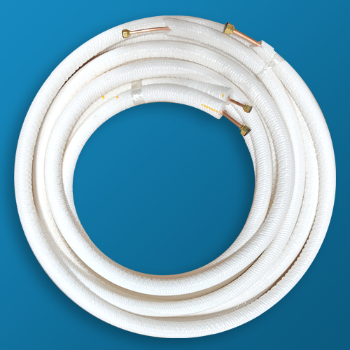 Pre-Insulated Mini-Split Lineset Readi-Protector White 1/4  LL x 3/8  SL x 1/2  Insualtion x 25 FT w/nuts